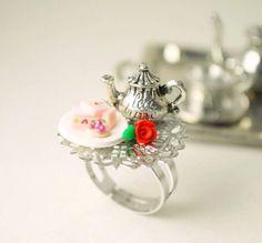 Tea Party Tray Ring Handmade Miniature Food Polymer Clay Jewelry