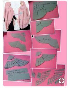 Tutor jahit jilbab - Her Crochet Muslim Fashion, Hijab Fashion, Clothing Patterns, Sewing Patterns, Abaya Pattern, Pola Rok, Modelista, Dress Making Patterns, Hijab Tutorial