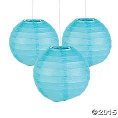 """Mini Light Blue Paper Lanterns - 4 1/2"""""""