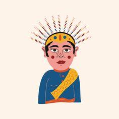Jakarta, Indonesia; Mascott Ondel Ondel Indonesian Art, Batik Pattern, Wedding Invitation Design, Food Illustrations, Jakarta, Layout Design, Euro, Character Design, Banner