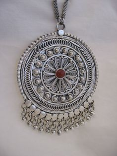 Sterling Silver necklace set with Karniul stone, Yeman filigree style