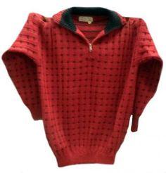 Roter #Herrenpullover, Sweater aus peruanischer #Alpakawolle, Rollkragen