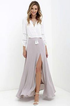 An exotic destination with cocktails and dancing at sunset sounds like perfect place for the Seaside Soiree Taupe Maxi Skirt! Woven maxi skirt with thigh-high slit. Chiffon Maxi, Maxi Skirts, Dress Skirt, Maxi Skirt With Slit, Skater Skirts, Pencil Skirts, Mode Outfits, Fashion Outfits, Womens Fashion