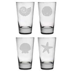Check out this item at One Kings Lane! S/4 Assorted Seashore Highball Glasses
