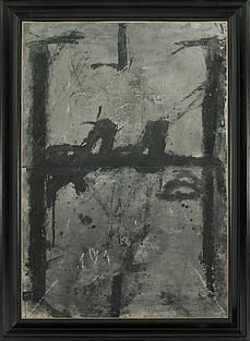 NEGRE SOBRE GRIS  By Antoni Tàpies    Dimensions: 147 x 102 cm  Medium: Mixed media on paper supported on canvas  Creation Date: 1967