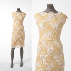 Vintage yellow lace wiggle dress with sequins, cocktail party dress, formal evening dress, autumn bridal holiday dress. Beautiful yellow lace dress.