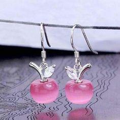 Crystal Apple Earrings - Silver Plated Jewelry