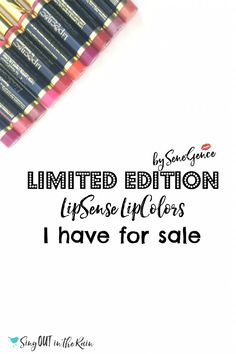 If you are looking for any Limited Edition LipSense Colors - THIS just might be your lucky day!  As a distributor - this is where I share any discontinued colors I may come across or Limited Editions I have on hand.  Get them before they\'re gone!!  #limitededition #lipsense #distributor #colors #discontinuedlipsense