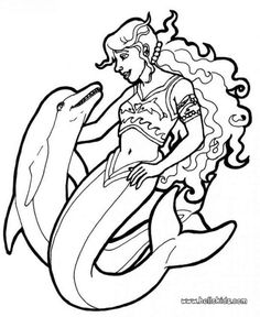 Mermaid and sea creatures coloring pages - Mermaid and dolphins