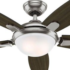 """Hunter LED Contempo 54"""" Ceiling Fan Brushed Nickel Finish. Airflow efficiency 76 (not good)"""