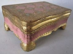 Vintage FLORENTINE Tooled Gilt FOOTED Wood BOX Italy
