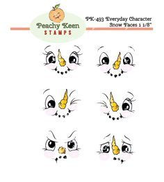 PK-493 Everyday Character Snow Face Stamps 1-1/8th inch: Peachy Keen Stamps | Home of the original clear, peach-tinted, high-quality whimsical face stamps.