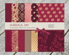 MARSALA Digital paper. Color 2015! Scrapbooking Marsalab PAPER. Marsala, floral, gold, damask digital paper, gold scrapbook paper.