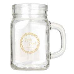 Gold Confetti Circle Frame Wedding Bridesmaid Mason Jar - winter gifts style special unique gift ideas