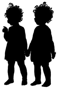 Two little girls holding hands Silhouette Cameo, Silhouette Images, Silhouette Projects, Vintage Silhouette, Digital Stamps Free, Paper Cutting, Scan And Cut, Girls Holding Hands, Digi Stamps
