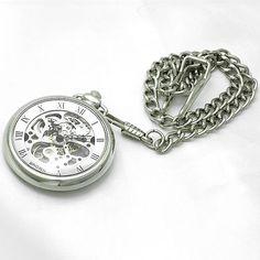 Amazon   [ブラウン]BROWN 懐中時計 メカニカル ポケットウォッチ 両面スケルトン 925J-SVSV メンズ   懐中時計 通販