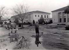 Vintage San Fernando Valley - Canoga Park High School after a rainstorm, 1950