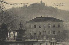 Landstuhl, Rheinland-Pfalz: Anlage mit Rathaus und Burg Sickingen