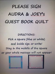 Wedding Quilt Guest Book instructions! … More