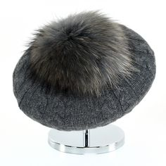 Cable Beret with Fur Puff - Anthracite Cashmere Beanie, Beret, Cable, Fashion Looks, Fur, Collection, Cabo, Berets, Furs