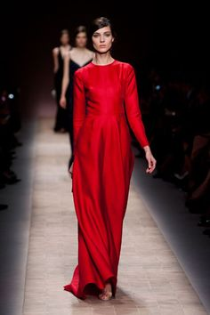 Valentino Spring 2013  Valentino red popped but maintained the spirit of covered-up allure.    Read more: Paris Fashion Week Spring 2013 Runway Looks - Best Spring 2013 Runway Fashion - Harper's BAZAAR