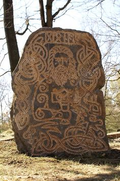 "Rune stone honoring Thor. The inscription above Thor's head reads ""Donar,"" another variation of ""Thor,"" meaning ""Thunder"" in the old Germanic tongue. In his right hand Thor holds Mjolnir, the Thunder Hammer."