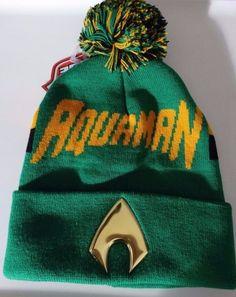 hot sale online c57c0 b3743 Aquaman Justice League DC Comics Chrome Weld Cuff Knit Pom Hat Nwt  DCComics   Beanie