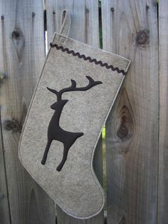 Stocking Christmas Stocking Woodland Reindeer Deer Christmas stockings made of wool felt ecofelt eco natural brown rickrack earthfriendly