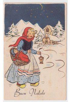 Non Viaggiata MARIS cartolina fp 102 messa notte di Natale mamma e bambino