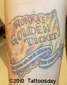Charlie and the chocolate factory-golden ticket tattoo
