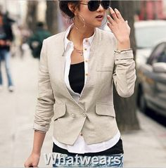 SHO Noble Womens Fit Stand Collar Pocket Suit Coat Jacket 2Colors Tweed F4087 | eBay