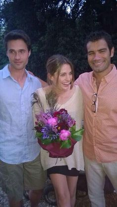 Stana katic with Marco Bonini & Brent in Florence during shooting