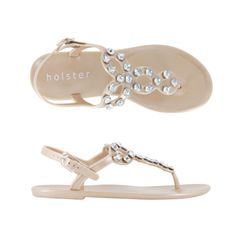 Holster Masquerade Jewelled Jelly Sandals Champagne, £46.00