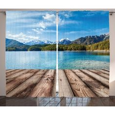 East Urban Home Scenery Snowy Mountain Tops from Old Wood Deck Pier by Sea Idyllic Calm Coastal Charm Graphic Print & Text Semi-Sheer Rod Pocket Cu...