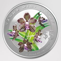 """Singapore Mint Vanda 'Mimi Palmer' 2007 """"Heritage Orchids of Singapore"""" 20 gm silver coin"""