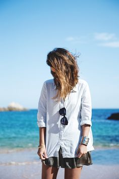 White shirts. Summer women apparel style outfit @roressclothes closet ideas fashion ladies clothing