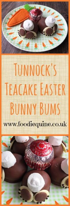 www.foodiequine.co.uk Perfect for Easter! No Bake Tunnock's Teacake Easter Bunny Bums. Chocolate and Marshmallow Bunny Butts. So Cute!