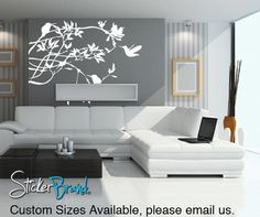 Vinyl Wall Decal Humming Bird on Branches #AC118 | Stickerbrand wall art decals, wall graphics and wall murals.