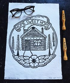 Skateboards, Lino prints, wood cuts and cross stitch by TheLongVacationArt Home Tattoo, Lino Cuts, Traditional Tattoo, Handmade Art, Sweet Home, Cross Stitch, Etsy Seller, Lino Prints, Tattos