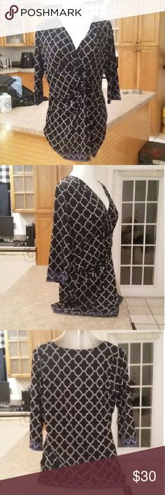 """Inc International Black, White, Blue Clover Dress Brand New, no tags is this STUNNING """"Inc International Concepts"""" Black & White w/Blue Accents Clover Mini Dress in Size XL. Retails $129.00 INC International Concepts Dresses Mini"""