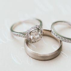 Cushion diamond   Scalloped halo milgrain ornate mini-bezel pave cathedral platinum setting   Photo by www.mandjphotos.com