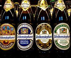 Weihenstephaner Korbinian Doppebock Beer, Original Premium Beer, Vitus Wezenbock Beer and Kristall Weissbier Wheat Beer - Bayerische Staatsbrauerei Weihenstephan Freising Germany I Like Beer, All Beer, Freising Germany, Pale Ale Beers, Premium Beer, Wheat Beer, Beers Of The World, German Beer, Beer Garden