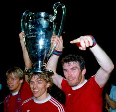 Gary Shaw, Tony Morley and Peter Withe with the European Cup, 1982 for Aston Villa