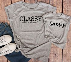 Classy With A Side of Sassy Funny Mom and Daughter Shirts Mom and Daughter Outfits Sassy Shirt for Girls Matching Mommy and Me - I Arted Shirt - Ideas of I Arted Shirt - Mommy And Me Shirt, Mommy And Me Outfits, Family Outfits, Kids Outfits, Sassy Shirts, Mom Shirts, Shirts For Girls, Kids Shirts, My Baby Girl
