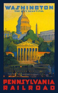 USA - Washington, the City Beautiful – Vintagraph  Vintage Travel Poster