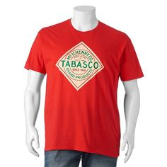 Big & Tall Tabasco Sauce Logo Tee, Men's, Size: Xl Tall, Red