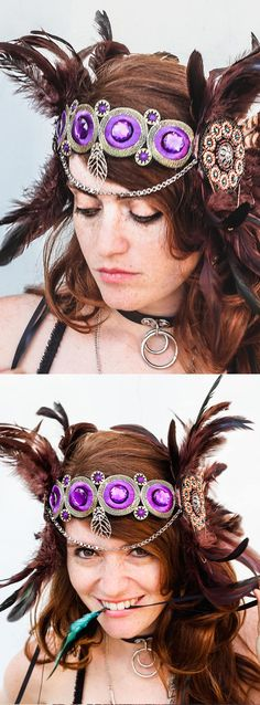 Handmade on Etsy Mardi Gras Halloween Headpiece. Burning Man headwear. Pheasant feathers + Rhinestones. The color scheme of feathers in shades of caramel, brown and black, with Purple Rhinestones. Wedding ideas feather headband. Festival outfits. Fall Winter Halloween Wedding Ideas. Burning Man Festival outfits. Mardi Gras ideas. #burningman #handmade #tribal #fastivalwings #festivals #raveoutfits #burningmanfestival #ootd #fashion #fashionista #affiliatelink #Halloween #dayofthedead…