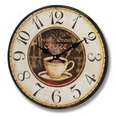 think this will compliment one of our handmade kitchens really well. Coffee Clock, My Coffee, Morning Coffee, French Clock, Kitchen Themes, Kitchen Ideas, Kitchen Decor, French Coffee, Kitchen Clocks