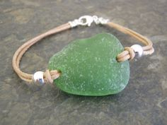 green beach glass bracelet