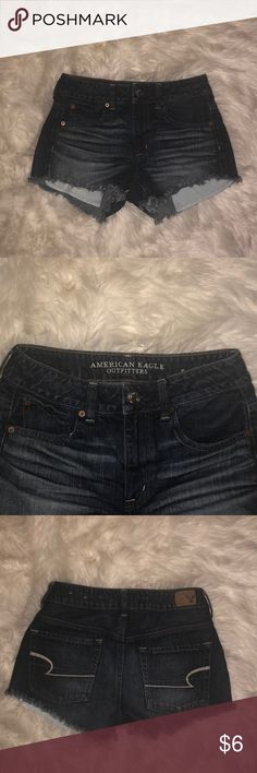 American Eagle Outfitters High Wasted Shorts Dark wash denim high waisted shorts with pockets kinda showing. American Eagle Outfitters Shorts Skorts